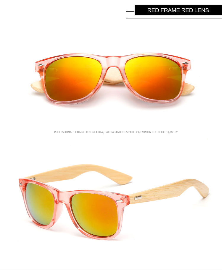 Pink Framed Mirror Bamboo Sunglasses
