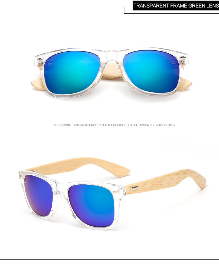 Clear Framed Mirrored Bamboo Sunglasses
