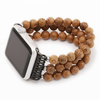 Handmade Wooden Beads Wrist Watch Strap for 38/42mm Apple Watch Series