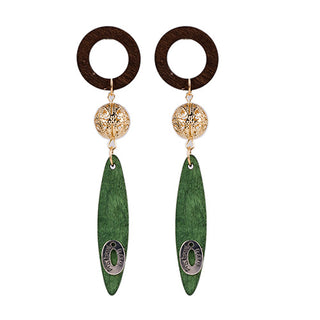 Wood Tassel Circle Drop Earrings