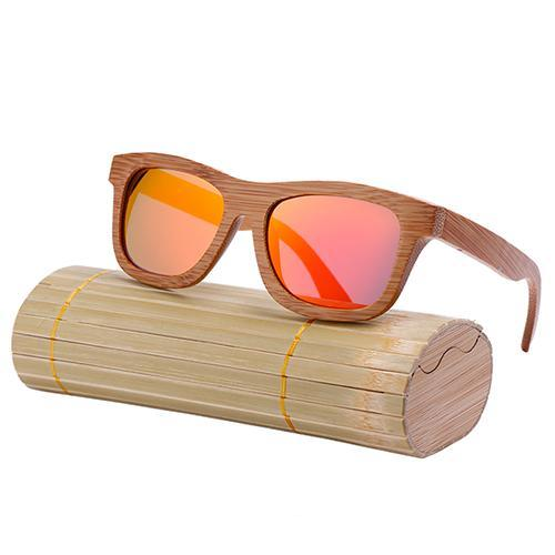 Oval Wood Frame Polarized Bamboo Sunglasses Red