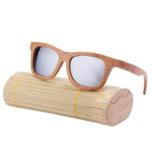 Oval Wood Frame Polarized Bamboo Sunglasses Grey