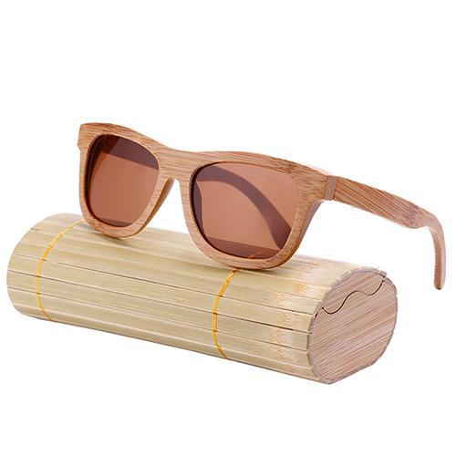 Oval Wood Frame Polarized Bamboo Sunglasses Tea