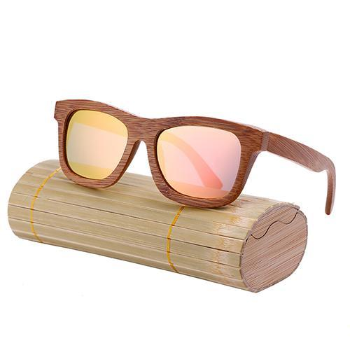 Oval Wood Frame Polarized Bamboo Sunglasses Pink