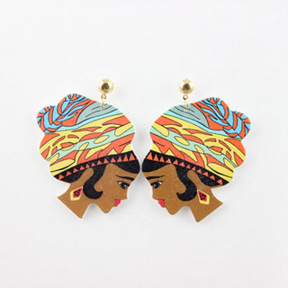 Hip Hop Wooden Print Women Head Stud Earrings