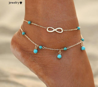 Double Infinity Beads Pendant Anklet