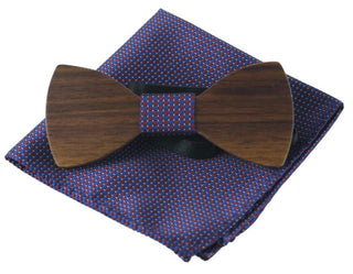 Handkerchief Wooden Bow Tie Set - 3 Solid Styles