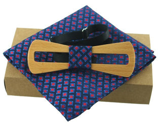 Men's Fashion Handkerchief Wooden Bow Tie Set - Blue and Red