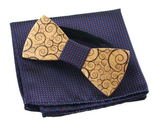 Men's Fashion Carved Wooden Bow Tie and Handkerchief Set