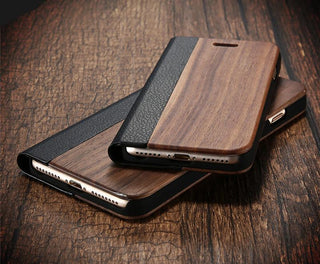 Real Bamboo Wood Flip Cases with Leather