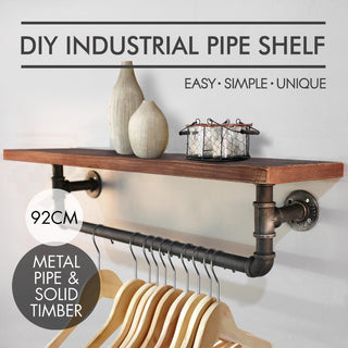 Industrial Loft Rustic Floating Pipe Shelf and Hanging Pipe