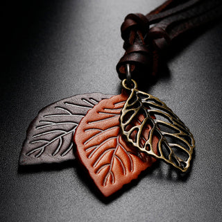 3 Leaf Pendant Leather Cord Long Women Necklace