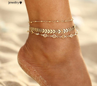 Crystal Sequins Anklet 3Pcs Set