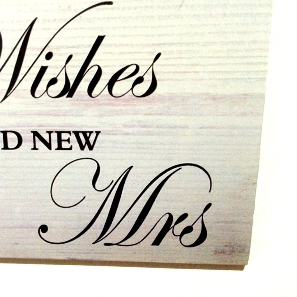 Good Wishes Mr Mrs Wooden Wedding Sign