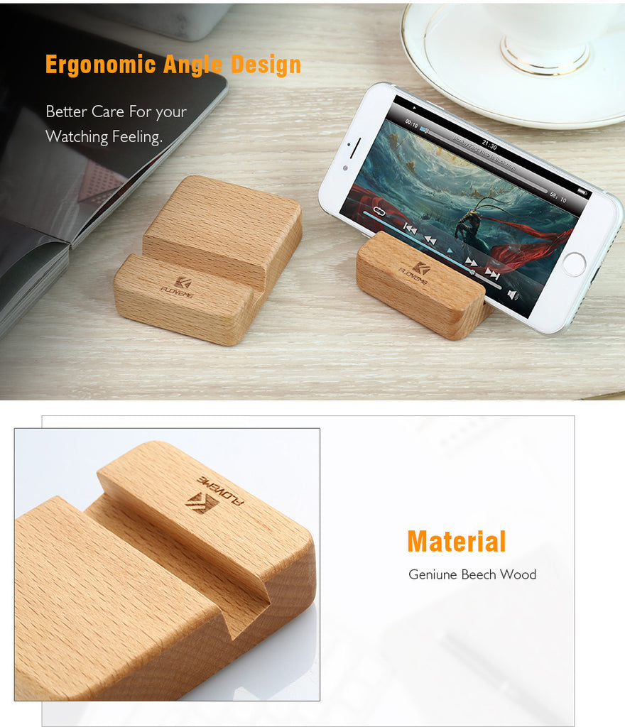 Universal Natural Wood Phone Holder Dock Stand