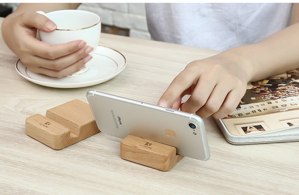 Natural Wood Phone Holder Stand For iPhone, iPad Tablet and Samsung