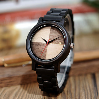 Unique Two-Tone Dial Wood Quartz Watch With Ebony Wood Band Luxury Gift