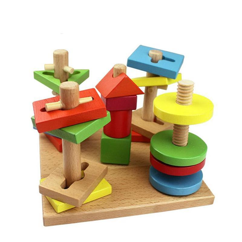 Educational Wooden Blocks Color Shape - Wooden Toys for Toddlers