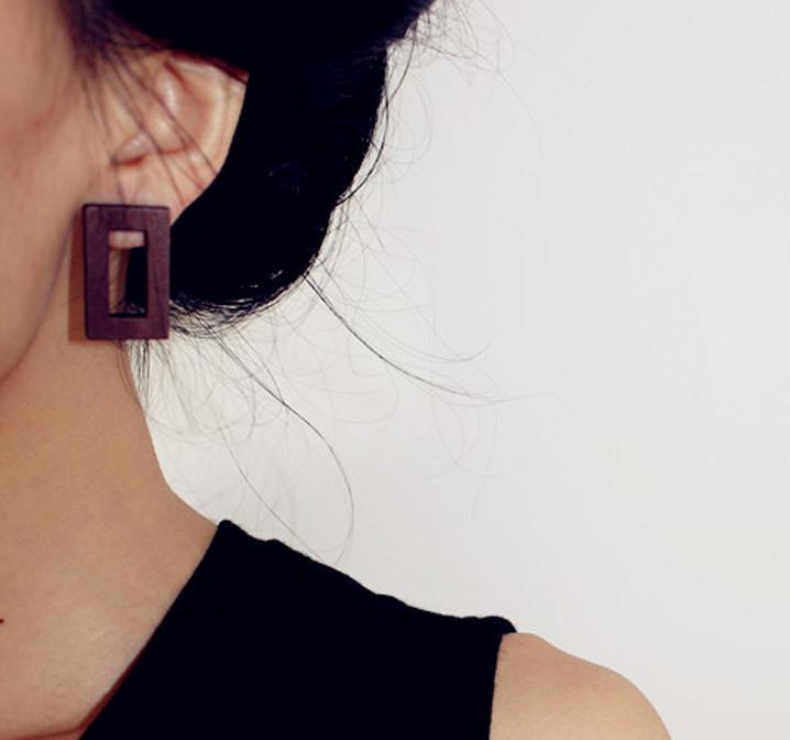 Minimalist French Style Wooden Stud Earrings