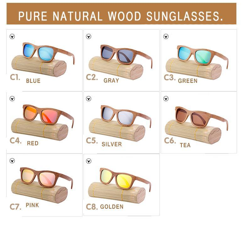 Oval Wood Frame Polarized Bamboo Sunglasses