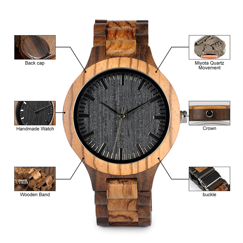 Walnut and Ebony Wooden Watch with All Wood Strap