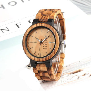 Two-Tone Wood Watch with Date Display