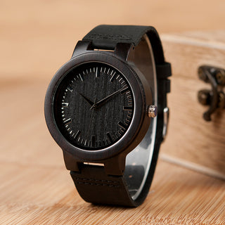 Men's Luxury Wooden Bamboo Watch with Ebony Leather Band