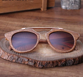 Retro Wood Grain Round Sunglasses