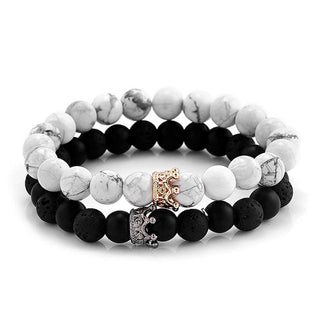 Black White 2Pcs Crown Accent Stone Beads Bracelet