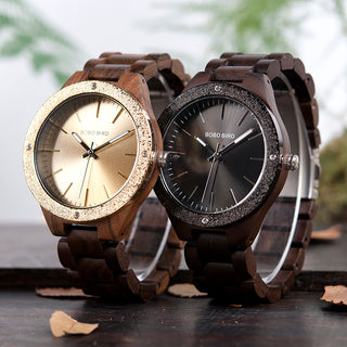 Gold Luxury All Wood Quartz Dress Watch with Steel Dial