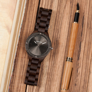 Black Luxury All Wood Quartz Dress Watch with Steel Dial