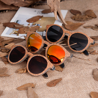 Anti-Reflective Polarized Round Frame Wood Grain Sunglasses