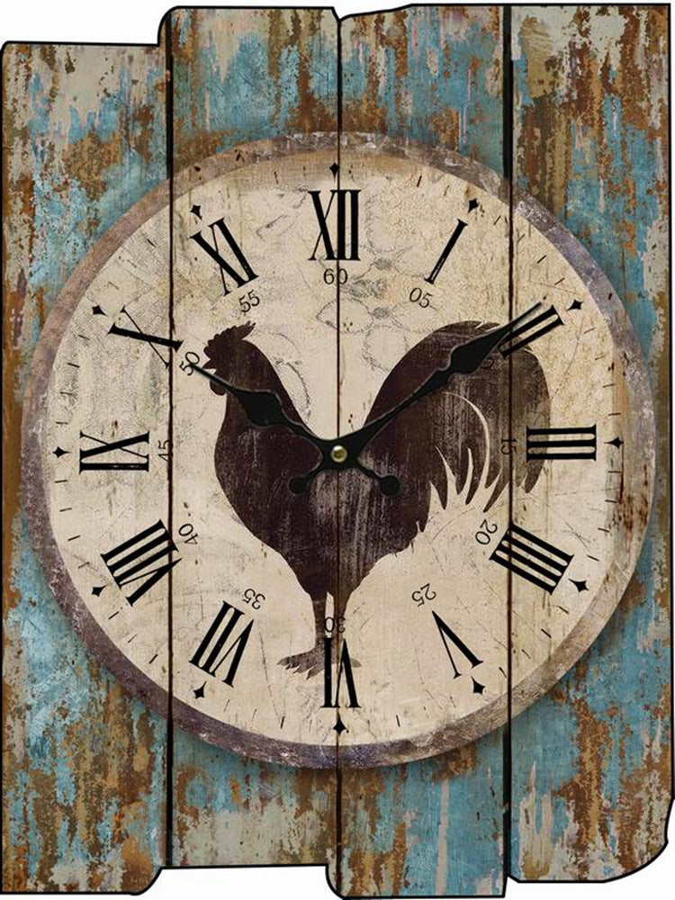 Rooster Decorative Wood Panel Wall Clocks