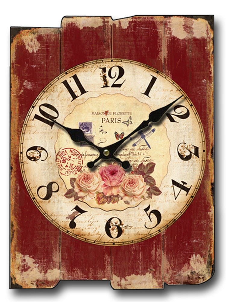 Floral Red Decorative Wood Panel Wall Clocks