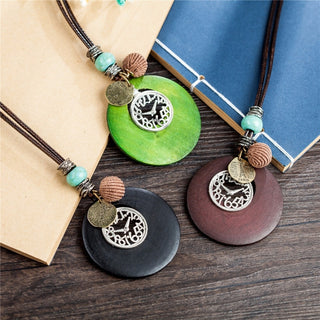 Wooden & Clock Pendant Statement Necklaces