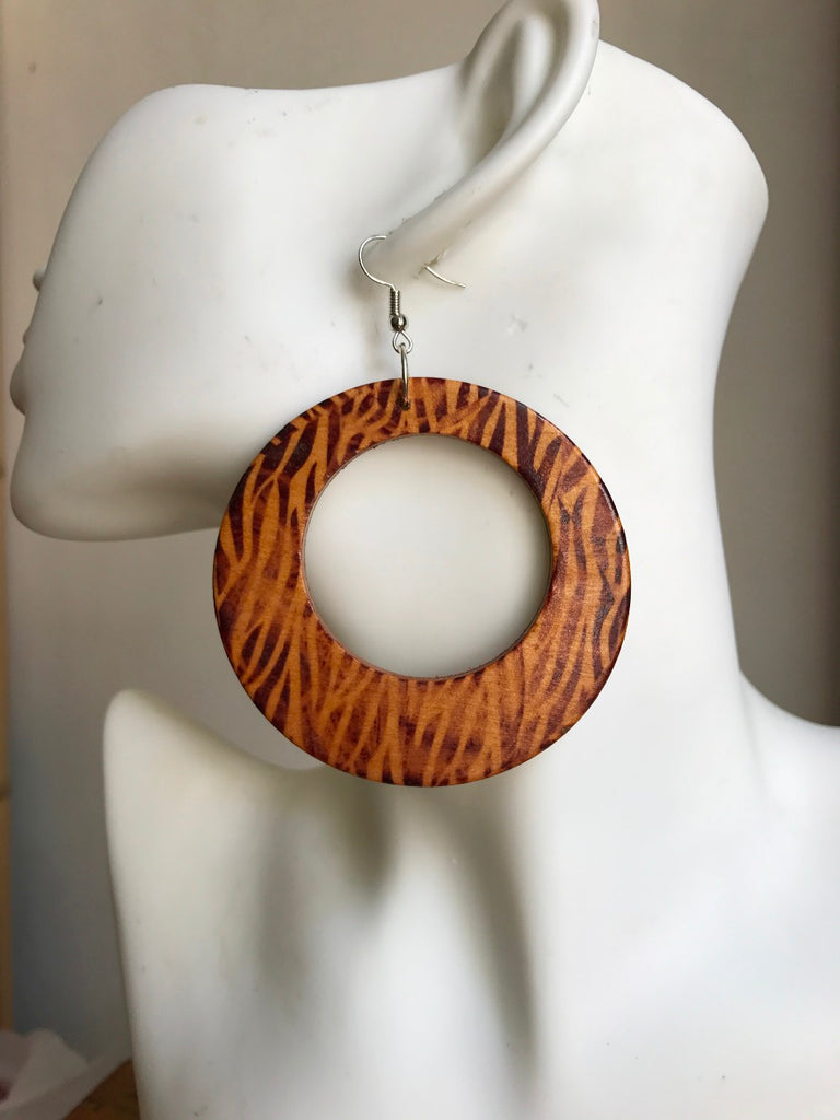Round Tiger Pattern Wood Earrings