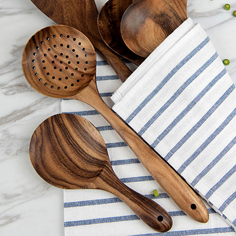 Wooden Utensils Cooking Tools - Rice Paddle, Wooden Strainer Spoon