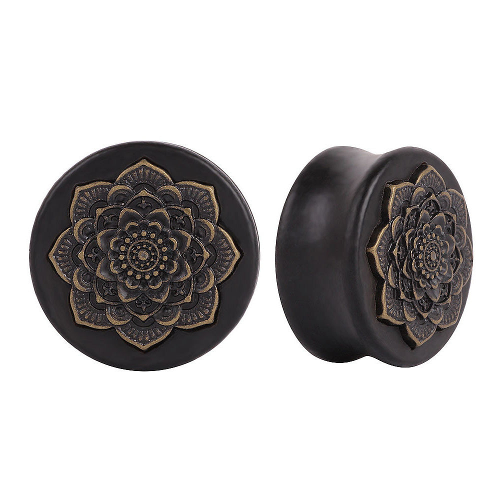 Natural Wood Mandala Flower Ear Plug Expanders