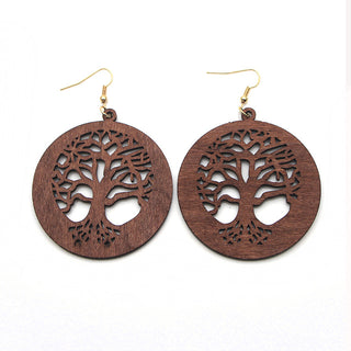 Tree of Life - Natural red wood tree earrings