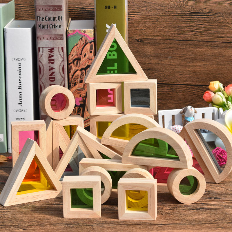Wooden Blocks, Wooden Toys 24Pcs Geometric Assembling Blocks