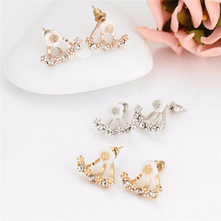Crystal Flower Stud Ear Jacket Earrings