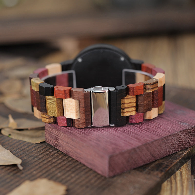 Colorful Wooden Watch for Men & Women with Date Display