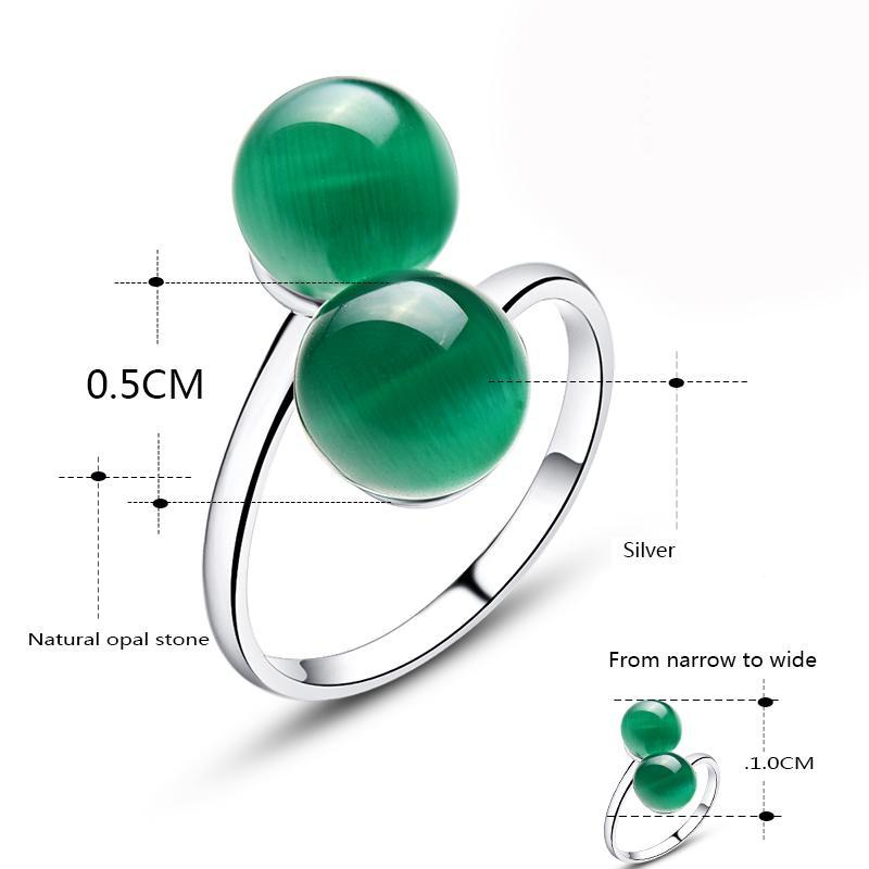 Green Opal Natural Stone Double Ball Ring