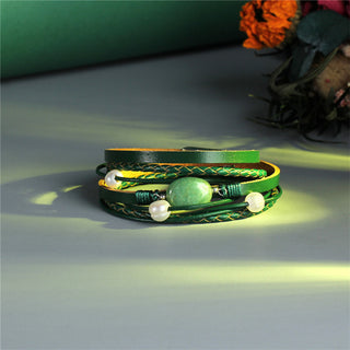 Green Stone Multi Layers Pearl Leather Bracelets