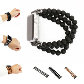 Agate Hematite Wood Apple Watch Band