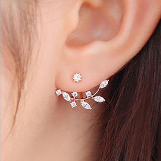 Flower Crystals Double Sided Ear Jacket Earrings