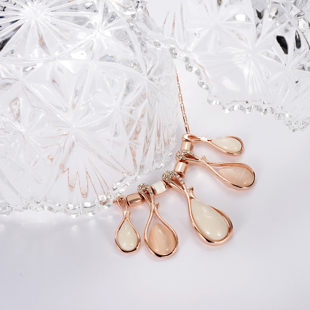 Rose Gold Crystal Opal Stones Necklace