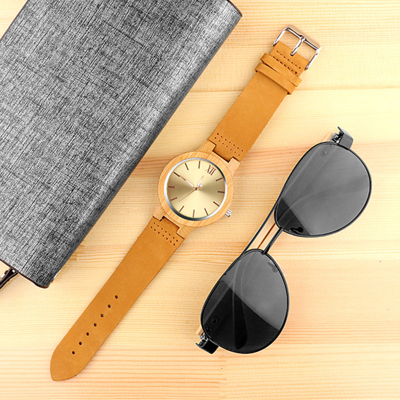 Golden Wood Fashion Watch with Leather Band
