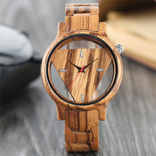 Unique Hollow Triangle Dial Wood Quartz Watch