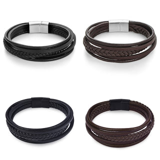 Men's Genuine Leather Braided Rope Bracelet with Stainless Steel Clasp